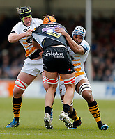 Photo: Richard Lane/Richard Lane Photography. Exeter Chiefs v Wasps. Gallagher Premiership. 14/04/2019.  Wasps' James Gaskell and Nizaam Carr tackle Chiefs' Ollie Atkins.