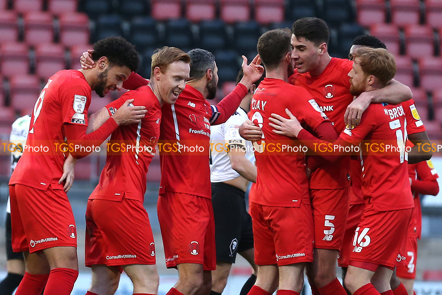 Danny Johnson of Leyton Orient scores the first goal for his team and celebrates with his team mates during Leyton Orient vs Salford City, Sky Bet EFL League 2 Football at The Breyer Group Stadium on 2nd January 2021
