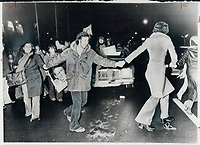 1976 FILE PHOTO - ARCHIVES -<br /> <br /> Streets were alive with the sounds of victory in Montreal last night after word of the Parti Quebecois victory was announced. People danced and drank beer openly celebrating the election results. Of course; not everyone was happy with the results. One taxi driver said Quebeckers wanted to teach the Liberals a lesson; not give the Parti Quebecois a majority. But Parti Quebecois supporters were too busy celebrating their great victory at the polls.<br /> <br /> Bezant, Graham<br /> Picture, 1976<br /> <br /> 1976<br /> <br /> PHOTO : Graham Bezant - Toronto Star Archives - AQP