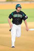 Tony Montalbano #14 of the Charlotte 49ers hustles towards third base against the Wake Forest Demon Deacons at Gene Hooks Field on March 22, 2011 in Winston-Salem, North Carolina.   Photo by Brian Westerholt / Four Seam Images