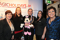 NO FEE PICTURES.25/1/13 Maureen Ledwith, Director Holiday World, Lord Mayor of Dublin is Naoise Ó Muirí and Clare Dunne, President ITAA with Amy Henderson and Sarah Kinsella at the Holiday World Show at the RDS, Dublin. Picture:Arthur Carron/Collins