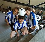 Luis, Daniel e Matteo, studenti argentini, ritratti alla Facoltà di Lettere dove studiano. <br /> Argentine football players in Balon Mundial, tournament for immigrants living in Piedmont.