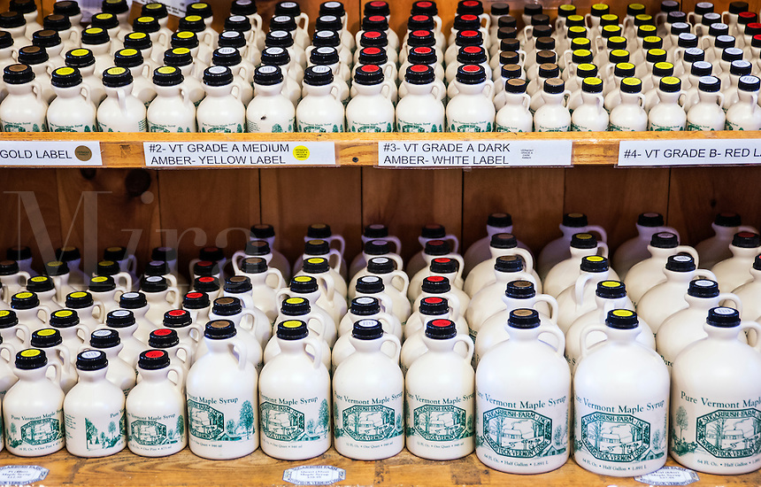 Grades of maple syrup available in the Sugarbush Farm store, Woodstock, Vermont, USa