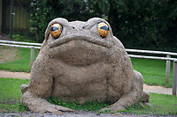BNPS.co.uk (01202 558833)<br /> Pic: ZacharyCulpin/BNPS<br /> <br /> exStrawdinary Sculptures....<br /> <br /> Pictured: A giant straw toad <br /> <br /> Artists have created a series of giant animal sculptures made from hay and straw for a new outdoor art exhibition.<br /> <br /> Mike De Butts, Harriet Lumby and Alex Rinsler designed the collection of eight sculptures representing the UK's most iconic nocturnal native wildlife specifically for a new exhibition at Longleat House and Safari Park in Wiltshire.<br /> <br /> The art project, called 'Under the Moon', celebrates the mysterious world of animals after dark.<br /> <br /> The sculptures, which are up to three-metres tall include figures of an owl, fox, mole, badger<br /> and hedgehog alongside a toad, snail and a spider.