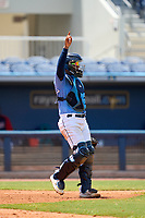FCL Rays catcher Mario Fernandez (59) signals one out during a game against the FCL Twins on July 20, 2021 at Charlotte Sports Park in Port Charlotte, Florida.  (Mike Janes/Four Seam Images)