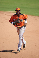 Baltimore Orioles Cedric Mullins (19) during an instructional league game against the Tampa Bay Rays on September 25, 2015 at Ed Smith Stadium in Sarasota, Florida.  (Mike Janes/Four Seam Images)