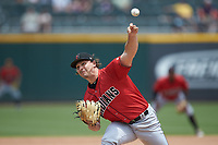 Indianapolis Indians relief pitcher Josh Smoker (43) delivers a pitch to the plate against the Charlotte Knights at BB&T BallPark on August 22, 2018 in Charlotte, North Carolina.  The Indians defeated the Knights 6-4 in 11 innings.  (Brian Westerholt/Four Seam Images)