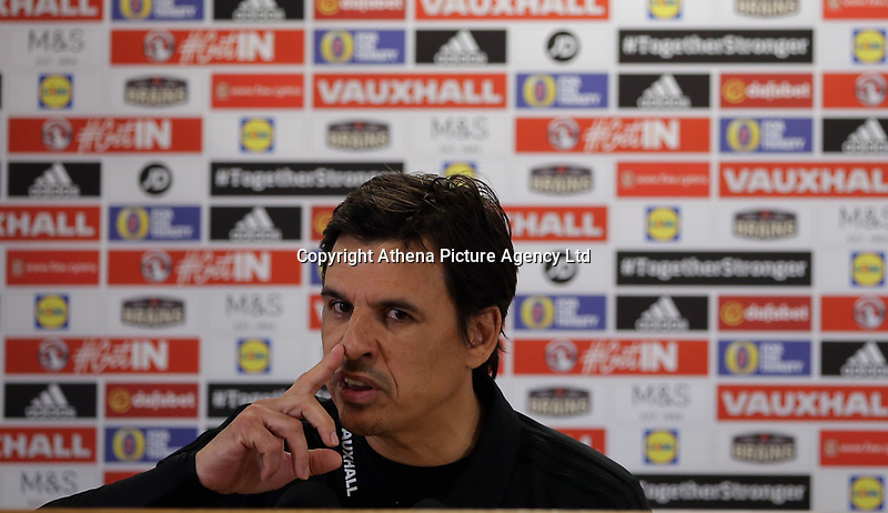 Manager Chris Coleman speaks to reporters during the Wales Press Conference and Training Session at The Cardiff City Stadium, Wales, UK. Monday 13 November 2017