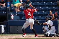 Ali Castillo (4) of the Rochester Red Wings at bat against the Scranton/Wilkes-Barre RailRiders at PNC Field on July 25, 2021 in Moosic, Pennsylvania. (Brian Westerholt/Four Seam Images)