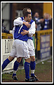 18/01/2003                   Copyright Pic : James Stewart.File Name : stewart-alloa v qots09.JOHN O'NEIL CELEBRATES TEAM MATE PETER WEATHERSON AFTER HE SCORED THE FIRST GOAL.....James Stewart Photo Agency, 19 Carronlea Drive, Falkirk. FK2 8DN      Vat Reg No. 607 6932 25.Office     : +44 (0)1324 570906     .Mobile  : +44 (0)7721 416997.Fax         :  +44 (0)1324 570906.E-mail  :  jim@jspa.co.uk.If you require further information then contact Jim Stewart on any of the numbers above.........