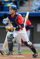 Brevard County Manatees catcher Cameron Garfield #11 during a game against the Daytona Cubs at Spacecoast Stadium on April 5, 2013 in Viera, Florida.  Daytona defeated Brevard County 8-0.  (Mike Janes/Four Seam Images)