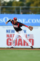 Batavia Muckdogs second baseman Rony Cabrera (40) throws to first during a game against the Auburn Doubledays on August 27, 2014 at Dwyer Stadium in Batavia, New York.  Auburn defeated Batavia 6-4.  (Mike Janes/Four Seam Images)