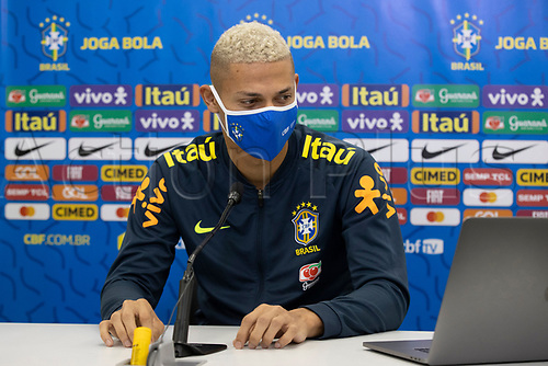 10th November 2020; Granja Comary, Teresopolis, Rio de Janeiro, Brazil; Qatar 2022 qualifiers; Richarlison of Brazil during press conference in Granja Comary