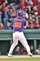 Clemson Tigers left fielder Reed Rohlman (26) awaits a pitch during a game against the South Carolina Gamecocks at Fluor Field on March 5, 2016 in Greenville, South Carolina. The Tigers defeated the Gamecocks 5-0. (Tony Farlow/Four Seam Images)