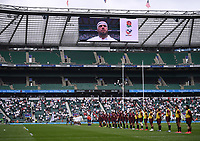 4th July 2021; Twickenham, London, England; International Rugby, Autumn Internationals, England versus United States of America; England team sing the National Anthem with captain Lewis Ludlow on the big screen