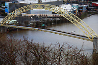 An empty West End bridge is shown on Wednesday April 1, 2020 in Pittsburgh, Pennsylvania. (Photo by Jared Wickerham/Pittsburgh City Paper)