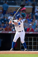 Jake Elmore (5) of the Durham Bulls at bat against the Louisville Bats at Durham Bulls Athletic Park on August 9, 2015 in Durham, North Carolina.  The Bulls defeated the Bats 9-0.  (Brian Westerholt/Four Seam Images)