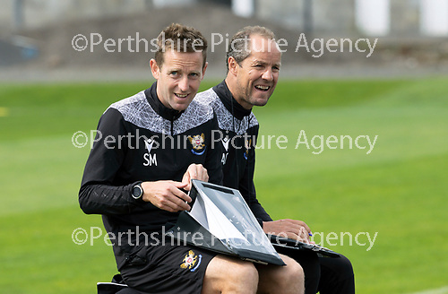 St Johnstone Training…..11.08.20  <br />St Johnstone coaches Steven MacLean and Alec Cleland pictured during training at McDiarmid Park ahead of tomorrow night's game at Rangers.<br />Picture by Graeme Hart.<br />Copyright Perthshire Picture Agency<br />Tel: 01738 623350  Mobile: 07990 594431