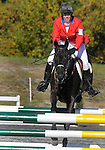 19 October 2008:   Amy Tryon and Coal Creek were alone among the leaders in posting a double-clear round in the show jumping final section of the Fair Hill International CCI*** Championship at Fair Hill Equestrian Center in Fair Hill, Maryland.  The round vaulted the pair into first place for the win.