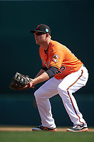 Baltimore Orioles first baseman Mark Trumbo (45) during a Spring Training game against the Minnesota Twins on March 7, 2016 at Ed Smith Stadium in Sarasota, Florida.  Minnesota defeated Baltimore 3-0.  (Mike Janes/Four Seam Images)