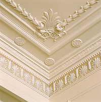 An ornate and elegant corner of a neo-classical ceiling with elaborate plaster mouldings
