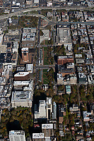 aerial photograph of Independence Mall downtown Philadelphia, Pennsylvania from Independence Hall toward Franklin Square; the United States Mint is in the background right, the National Constitution Center historical museum to the mint's left