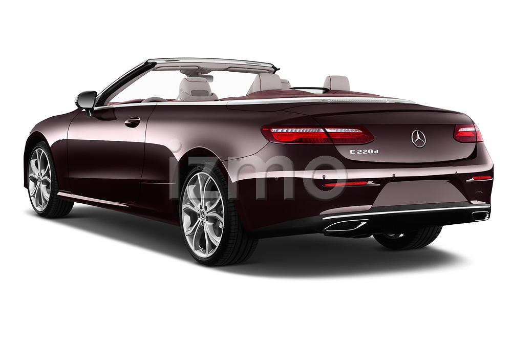 Car pictures of rear three quarter view of a 2018 Mercedes Benz E Class 25th Anniversary 2 Door Convertible angular rear