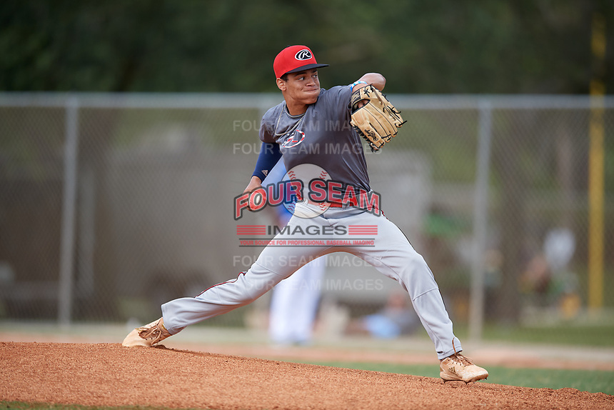 Masyn Winn (16) during the WWBA World Championship at the Roger Dean Complex on October 12, 2019 in Jupiter, Florida.  Masyn Winn attends Kingwood High School in Kingwood, TX and is committed to Arkansas.  (Mike Janes/Four Seam Images)