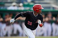Batavia Muckdogs third baseman Ronal Reynoso (26) runs to first base during a game against the Auburn Doubledays on September 1, 2018 at Dwyer Stadium in Batavia, New York.  Auburn defeated Batavia 10-5.  (Mike Janes/Four Seam Images)
