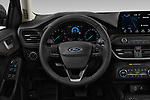 Car pictures of steering wheel view of a 2019 Ford Focus-Clipper Vignale 5 Door Wagon
