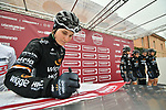 Wiggle-High5 team riders incluning last year's winner Elisa Longo Borghini (ITA) at sign on before the start of the Strade Bianche Women Elite NamedSport race running 136km from Siena to Siena, Italy. 3rd March 2018.<br /> Picture: LaPresse/Massimo Paolone | Cyclefile<br /> <br /> <br /> All photos usage must carry mandatory copyright credit (© Cyclefile | LaPresse/Massimo Paolone)