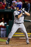 Rob Scahill (34) of the Tulsa Drillers at bat during a game against the Springfield Cardinals on April 29, 2011 at Hammons Field in Springfield, Missouri.  Photo By David Welker/Four Seam Images.