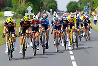 2nd July 2021; Le Creusot, France;  TEUNISSEN Mike (NED) of JUMBO-VISMA, VAN AERT Wout (BEL) of JUMBO-VISMA, SKUJINS Toms (LAT) of TREK - SEGAFREDO, STUYVEN Jasper (BEL) of TREK - SEGAFREDO, MEURISSE Xandro (BEL) of ALPECIN-FENIX and VAN DER POEL Mathieu (NED) of ALPECIN-FENIX during stage 7 of the 108th edition of the 2021 Tour de France cycling race, a stage of 249,1 kms between Vierzon and Le Creusot