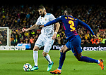 Karim Benzema (L) of Real Madrid is tackled by Nelson Cabral Semedo of FC Barcelona during the La Liga 2017-18 match between FC Barcelona and Real Madrid at Camp Nou on May 06 2018 in Barcelona, Spain. Photo by Vicens Gimenez / Power Sport Images