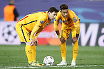 FC Barcelona's Leo Messi (l) and Neymar Santos Jr during Champions League 2015/2016 Quarter-Finals 2nd leg match. April 13,2016. (ALTERPHOTOS/Acero)