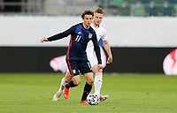 ST. GALLEN, SWITZERLAND - MAY 30: Brenden Aaronson #11 of the United States moves with the ball during a game between Switzerland and USMNT at Kybunpark on May 30, 2021 in St. Gallen, Switzerland.