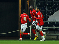ATTENTION SPORTS PICTURE DESK<br /> Pictured: Ishmael Miller of West Bromwich Albion (C) celebrating his goal with team mates.<br /> Re: Coca Cola Championship, Swansea City Football Club v West Bromwich Albion at the Liberty Stadium, Swansea, south Wales. Tuesday 16 March 2010