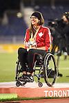 Pamela LeJean, Toronto 2015 - Para Athletics // Para-athlétisme.<br /> Pamela LeJean receives her Gold Medal for the Women's Shot Put F53/54/55 // Pamela LeJean reçoit sa médaille d'or pour le lancer du poids féminin F53 / 54/55. 12/08/2015.