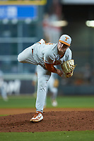 Texas Longhorns starting pitcher Bryce Elder (13) follows through on his delivery against the LSU Tigers in game three of the 2020 Shriners Hospitals for Children College Classic at Minute Maid Park on February 28, 2020 in Houston, Texas. The Tigers defeated the Longhorns 4-3. (Brian Westerholt/Four Seam Images)