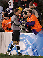 New Mexico goalkeeper Mike Graczyk, in a show of sportsmanship, goes over and shakes hands with some Clemson fans after the game. The University of New Mexico Lobos defeated the Clemson University Tigers 2-1 in a Men's College Cup Semifinal at SAS Stadium in Cary, NC, Friday, December 9, 2005.