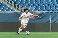 FOXBOROUGH, MA - JULY 23: Jon-Talen Maples #34 of Toronto FC II passes the ball during a game between Toronto FC II and New England Revolution II at Gillette Stadium on July 23, 2021 in Foxborough, Massachusetts.