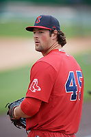 Salem Red Sox pitcher Mitchell Osnowitz during practice before the first game of a doubleheader against the Potomac Nationals on May 13, 2017 at G. Richard Pfitzner Stadium in Woodbridge, Virginia.  Potomac defeated Salem 6-0.  (Mike Janes/Four Seam Images)