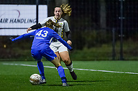 Charleroi midfielder Megane Vos (20) and Genk's Luna Vanhoudt (43) pictured during a female soccer game between Sporting Charleroi and KRC Genk Ladies on the 9th matchday of the 2020 - 2021 season of Belgian Scooore Womens Super League , friday 11 th of December 2020  in Marcinelle , Belgium . PHOTO SPORTPIX.BE | SPP | STIJN AUDOOREN