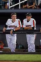 Aberdeen IronBirds Adley Rutschman (35) and Craig Lewis (18) in the dugout during a NY-Penn League game against the Vermont Lake Monsters on August 19, 2019 at Leidos Field at Ripken Stadium in Aberdeen, Maryland.  Aberdeen defeated Vermont 6-2.  (Mike Janes/Four Seam Images)