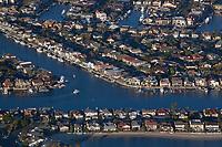 aerial photograph of Huntington Harbor, Sunset Beach, Orange County, California