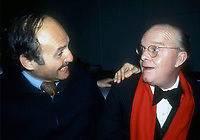1978 FILE PHOTO<br /> Lester Persky Truman Capote at Studio 54<br /> Photo by Adam Scull-PHOTOlink.net