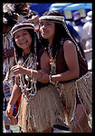 Two Gabrieleno/Tongva sisters in regalia and face paint