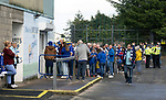 St Johnstone v Galatasaray…12.08.21  McDiarmid Park Europa League Qualifier<br />St Johnstone fans queueing to get into the shop ahead of tonight's game against Galatasaray<br />Picture by Graeme Hart.<br />Copyright Perthshire Picture Agency<br />Tel: 01738 623350  Mobile: 07990 594431