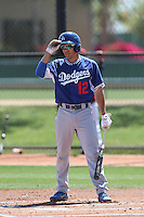 Malcom Holland #12 of the Los Angeles Dodgers bats during a Minor League Spring Training Game against the Cleveland Indians at the Los Angeles Dodgers Spring Training Complex on March 22, 2014 in Glendale, Arizona. (Larry Goren/Four Seam Images)