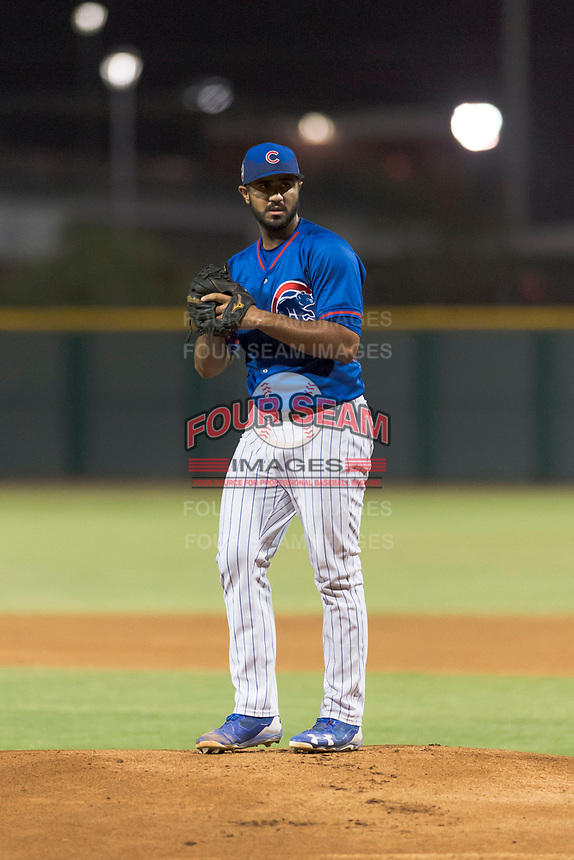 AZL Cubs 2 starting pitcher Emilio Ferrebus (43) gets ready to deliver a pitch during an Arizona League game against the AZL Indians 2 at Sloan Park on August 2, 2018 in Mesa, Arizona. The AZL Indians 2 defeated the AZL Cubs 2 by a score of 9-8. (Zachary Lucy/Four Seam Images)